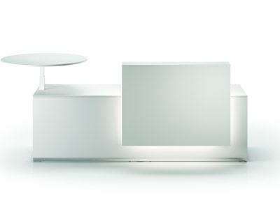 banque d'accueil épurée blanche ergonomique avec tablette arrondie