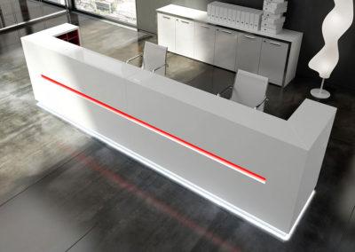 banque d'accueil blanche laquée, style moderne et épurée, avec bandeau de lumière rouge