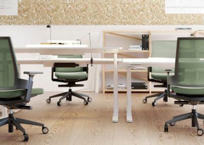 fauteuils de bureau ergonomique vert sur roulettes et avec accoudoirs dans open space dans ambiance moderne et décontractée