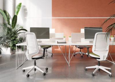 bureau moderne avec sièges ergonomiques à roulettes et accoudoirs
