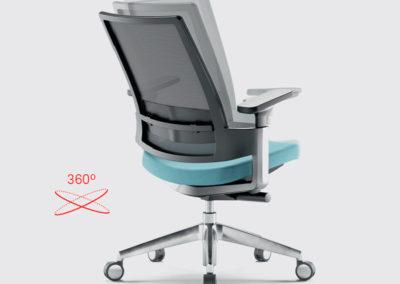 fauteuil de bureau ergonomique avec roulettes et accoudoirs, gris et bleu, avec dossier inclinable