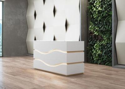 banque d'accueil minimaliste blanche laquée avec design ondulation en rainures bois