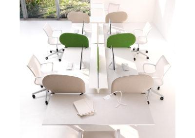 bureau coopératif moderne design et épuré blanc avec des touches de vert