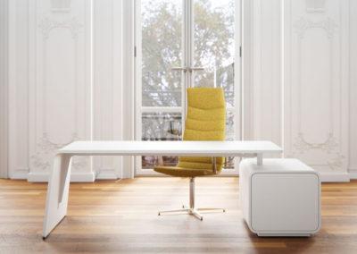 bureau de direction design et moderne blanc avec fauteuil de bureau pivotant jaune