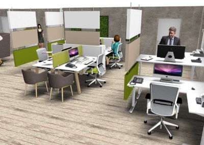 espace de travail composé de bureaux ergonomiques et adaptables crée par millésime agencement
