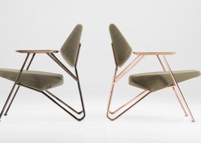 deux fauteuils modernes structure acier doré et noire