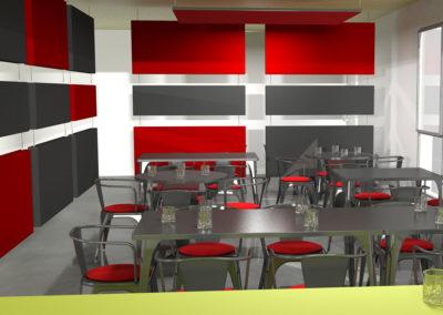salle de repas aménagées avec éléments de confort acoustique