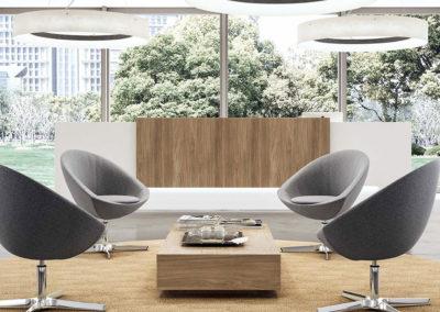 accueil composé d'un salon et d'une banque, ambiance épurée (couleur gris blanc) et chaleureux (matière bois)